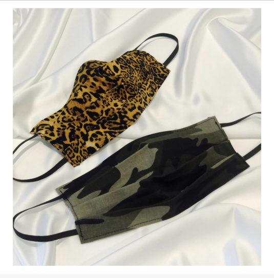 Leopard och kamouflage munskydd i bomull
